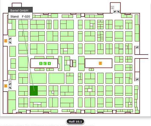 Map to find Berief / Gold Peg at Anuga Foodtec 2012