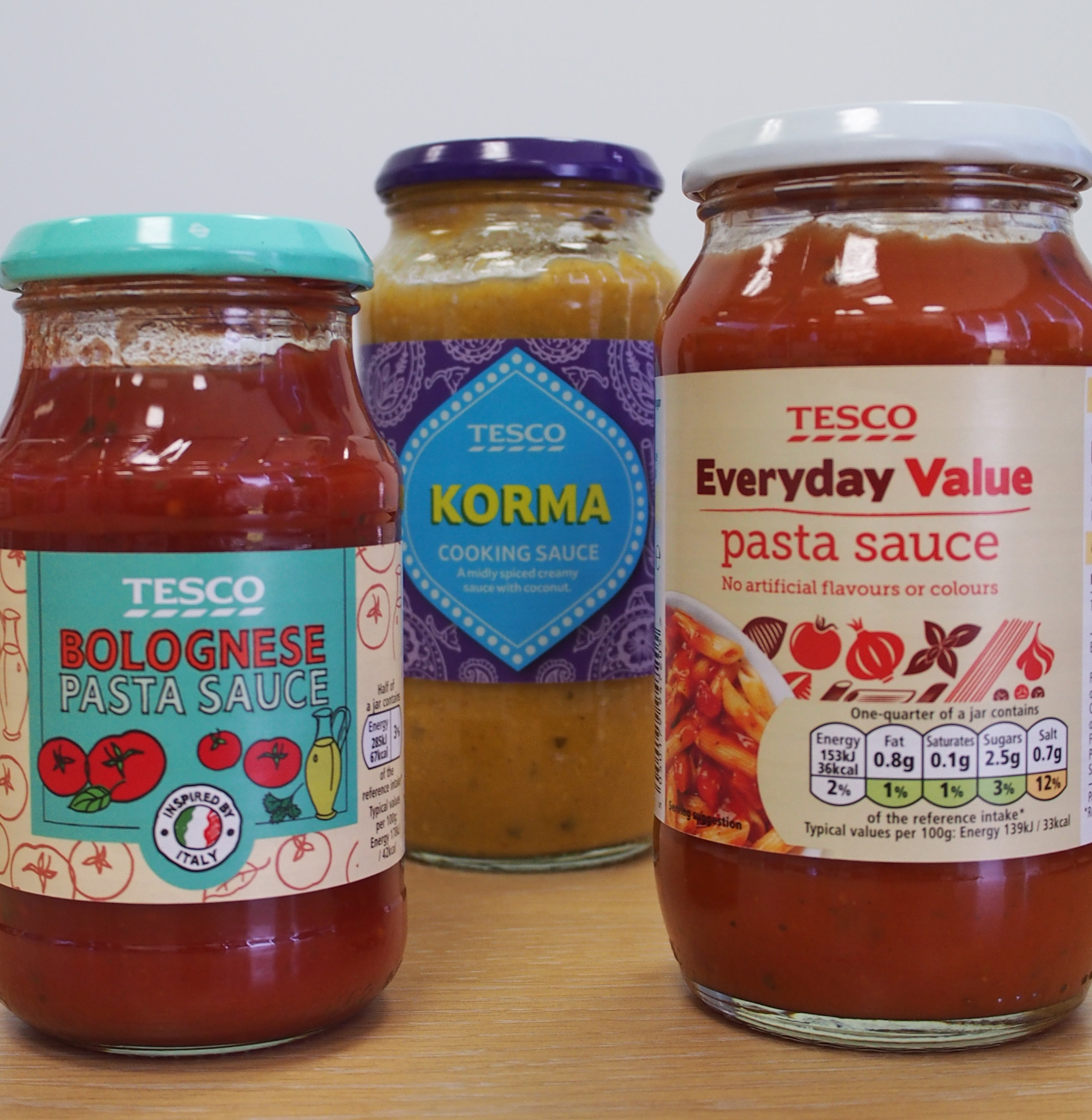 Selection of Tesco sauces made by Gold Peg RotaTherm