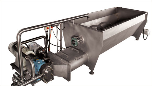 Auger feed hopper food processing equipment